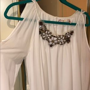 White formal dress (with fabric belt attached)